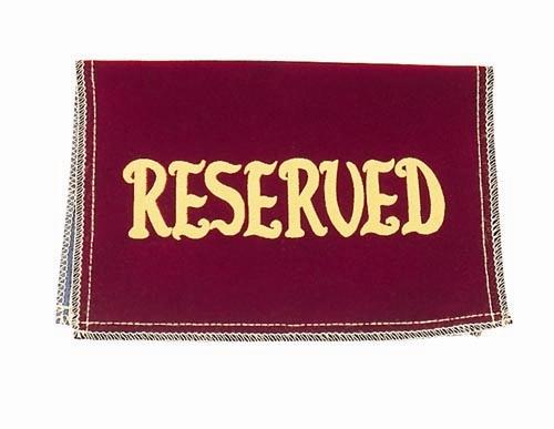 Reserved Seat Sign Velvet Maroon Church & Chapel.